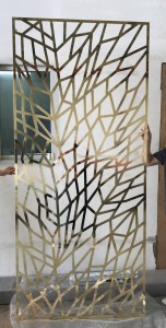 Aluminum Material 8mm Thickness Laser Cutting Technology PVD Gold Color Customied Size  Living Room Decoration Partition