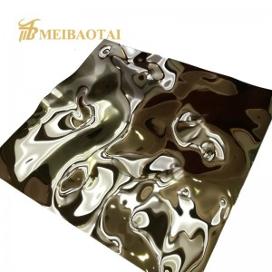 Silver Mirror Polish Water Ripple Stamped Finish Four Feet Grade 201/304 Stainless Steel Sheet for Decoration Ceiling Wall Plate