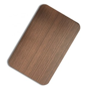 Antirust Waterproof Anti-corrosion PVD Bronze Rose Color Hairline Brush Design Decoration Plate 1219x2438mm 0.65mm Grade 201 Stainless Steel Plate for Kitchen Cabinet Material