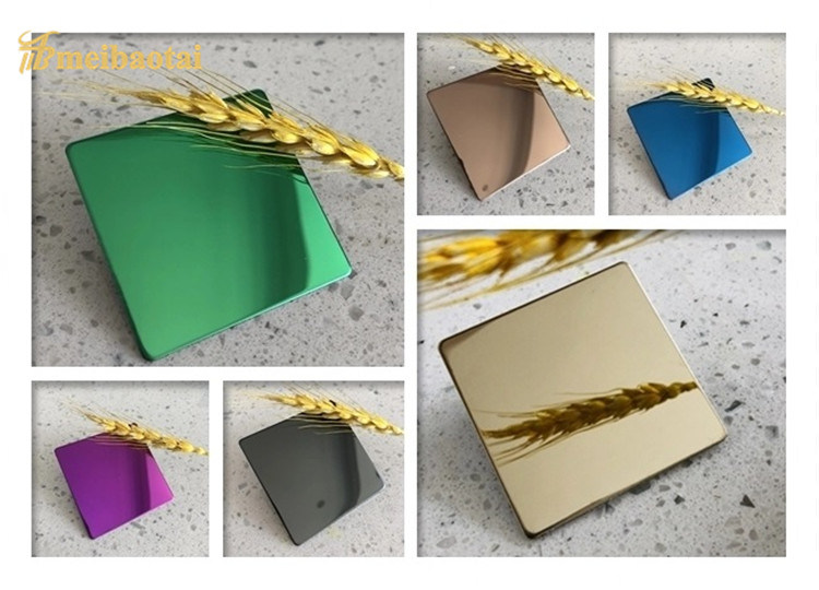 PVD Green Blue Golden Super Mirror Decorative Luxury Wall Plate 1219*2438mm 0.60mm Stainless Steel Sheet Featured Image