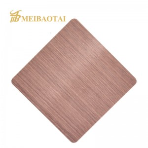 1219X2438mm 0.65mm 201 Stainless Steel Sheet PVD Rose Golden Black Color Hairline No.4 Brush Design Decoration Metal SS Plate