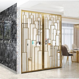 Modern Style PVD Golden Brush Color Coating 8mm Aluminum Material Decoration Partition for Living Room Decoration Partition