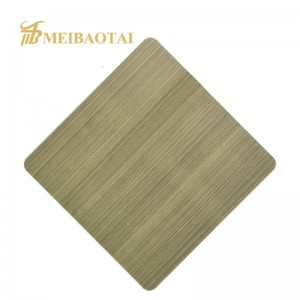 Hairline Brass Bronze Design Plate 1.20mm Stainless Steel Plate for Kitchen Decoration Plate