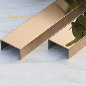 PVD Rose Color Coating Mirror Polished Stainless Steel U Tile Trim SS U Profiles for 2438mm
