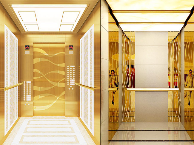 Why should the elevator door plate be made of etched stainless steel sheet