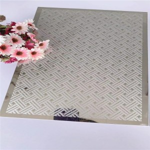 Customized Pattern Design Super Mirror Polish Etching Plate Hotel Elevator Lift Plate Decorative Plate 0.95mm 1219*2438mm Grade 201 Stainless Steel Plate