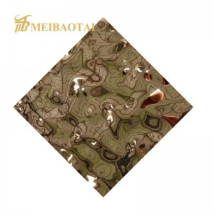High Quality Decoration Ceiling Wall 3D Panel PVD Golden Water Ripple Stamped Plate 304 Four Feet Stainless Steel Sheet
