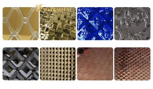 PVD Color Coating Mix Color Stamped Design Decorative Plate 1219x2438mm 0.65mm Thickness 304 Stainless Steel Plate for Wall Counter Decorative Plate