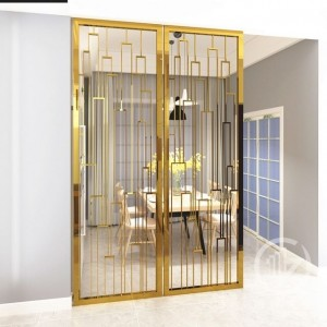 PVD Golden Brush Color Aluminum Material Laser Cutting Technology Decoration Partition