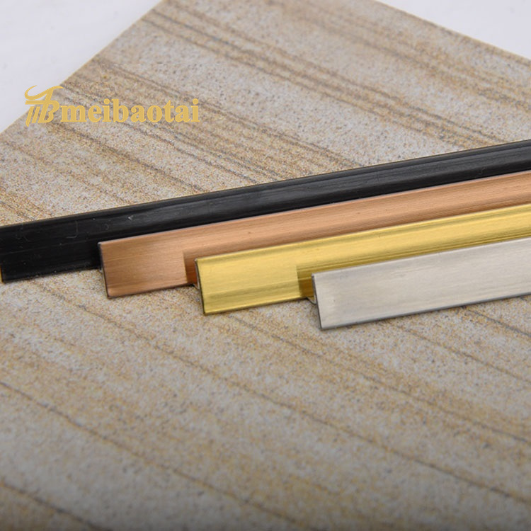 PVD Golden Rose Silver Color Matt Hairline Finish Design SS Metal T Tile Trim Stainless Steel T Profiles Featured Image