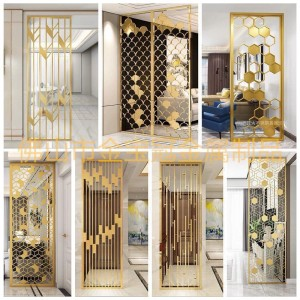 Modern Design PVD Brush Golden Color 3mm Thickness Customized Size 304 Stainless Steel Room Divider Decoration Partition for Living Room