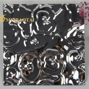 Rose Flower Pattern Stamped Desgin Decoration Wall Ceiling 3D Plate Black Mirror Polish Technology 304 Stainless Steel Sheet