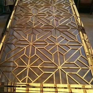 High Quality PVD Golden Rose Brush Flower Pattern Laser Cutting Design Aluminum Material Decoration Partition for Living Room Hotel Hall
