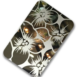 Manufacturer 304 Stainless Steel Sheet Super Mirror Polish Flower Design Etching Plate 1219*2438mm 0.75mm Decorative Wall Luxury Plate