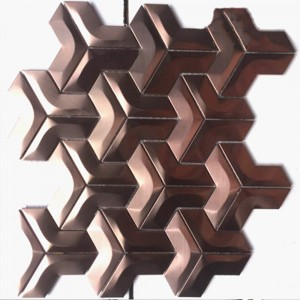 PVD Rose Black Golden Brushed Stainless Steel KTV V-shaped Interlocking Sticker Metal Mosaic Wall Tile