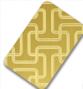 Custom Patterns AISI 304 Gold 3D Laser Finish Stainless Steel Color Sheets for Decorative Wall Panel