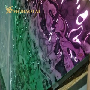 New Design Rainbow Design Water Ripple Stamped Plate Antirust Anticorrosion 0.65mm 201 Stainless Steel Sheet for Decoration Wall