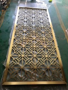 Metal Decoration Partition Brass Color Laser Cutting Technology Stainless Steel Material Decoration Partition for Divided Living Hall