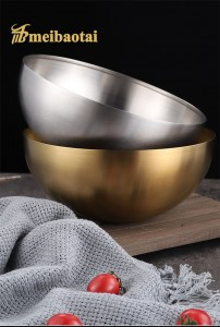 Meibaotai High Quality Silver Golden 304 Stainless Steel Metal Bowl