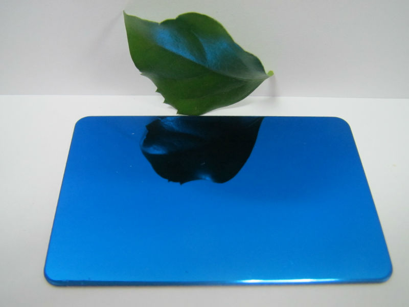 PVD Blue 8K Mirror Polish Finish 4ft*8ft 0.65mm 201 Stainless Steel Sheet Wall Panel Featured Image