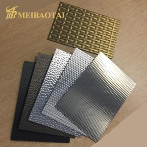 High Quality PVD Golden Color Coating Mirror Polish Stamped Design Plate 1219x2438mm 0.55mm 201 Stainless Steel Plate for Decorative Ceiling Wall Plate