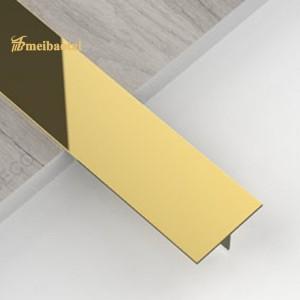 PVD Golden Color SS Tile Trim Stainless Steel T Tile Trim Ceramic Decoration T Profiles