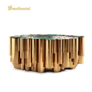 luxury metal stainless steel gold polished marble top coffee table