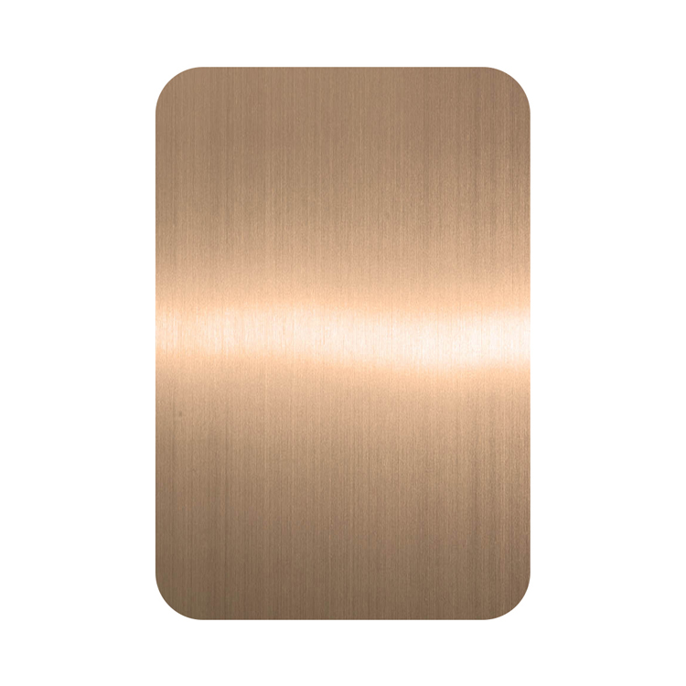 Anti fingerprint PVD Rose Gold Bronze Color Coating Grind NO.4 Design Finish 201 Stainless Steel Sheet for Decorative Wall Luxury Sheet Featured Image