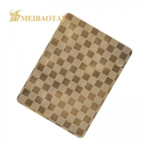 Patter Golden Color Embossed Stainless Steel Sheet
