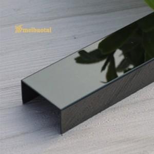 Building Inter Decoration Material Corner Tile Trim Silver Gold Rose Black Hairline Design Finish 304 Stainless Steel U Tile Trim