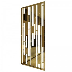 Hotel Hall Decoration Partition PVD Golden Brush Customized Size 8mm Thickness Aluminum Material Laser Cutting Technology Decoration Partition