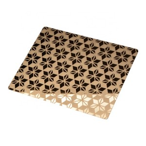 Mirror Polish PVD Gold Color Coating Etching Design 1219*2438mm 0.75mm Grade 304 Stainless Steel Sheet for Luxury Decoration Sheet
