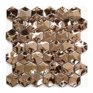 Rose gold color 3D mosaic art tile 304 stainless steel sheet hexagon mosaic tile KTV wall decor