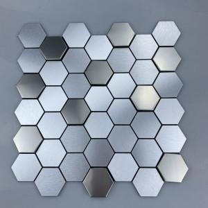 Hexagonal Metal Mosaic 3D Effect Stainless Steel decorative Wall Tiles