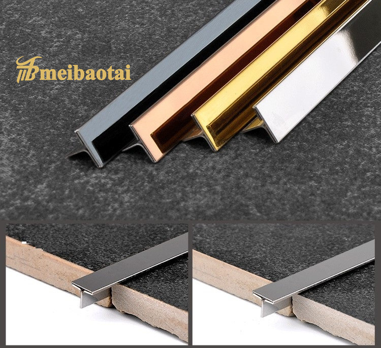 PVD Color Coating Finish Metal T Shape Stainless Steel T Tile Trim Ceramic Decoration T Tile Trim Featured Image