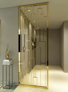 Modern Style PVD Golden Design Decoration Partition Stainless Steel Material Decoration Room Divider