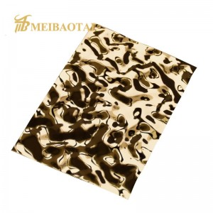 3D Wall Decorative Panel PVD Golden Color Coating 4FTx8FT 0.65mm 201 Stainless Steel Panel for Wall Ceiling Luxury Decoration Panel