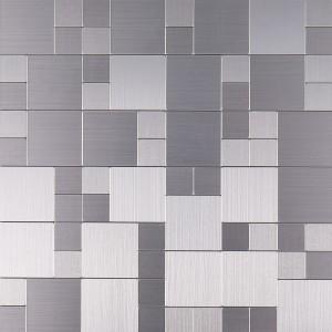 Brushed Stainless Steel KTV Interlocking Sticker Metal Mosaic Wall Tile