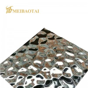 Hot Sale Water Ripple Silver Mirror Stamped Sheet 1219x2438mm 0.65mm Thickness 201 Grade Stainless Steel Sheet for Wall Ceiling Decoration Luxury Sheet