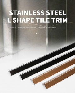 PVD Color Coating Mirror Polish Design SS Metal L Profiles Stainless Steel L Tile Trim for Wall Corner Decoration
